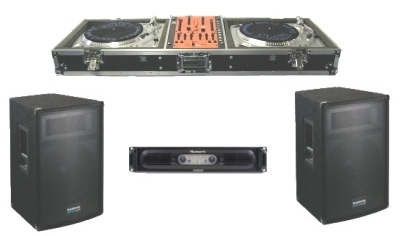 2 turntables and mixer with 2 speakers and amplifier