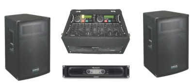 A Double CD player and mixer with 2 speakers and amplifier
