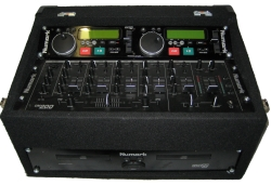 A Numark MP302 double CD player with a Numark CM200 mixer in a rugged flight case
