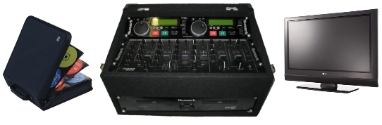 A double Karaoke CD player with mixer in a rugged flight case, also includes karaoke CDs and a display.