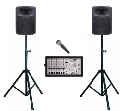 A PA Amplifier with 2 Speakers and Stands with one Microphone