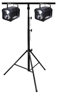 A set of 2 MarveLED lights on a T-Bar stand