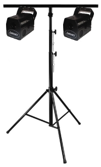 A set of 2 Twister 4 lights on a T-Bar stand